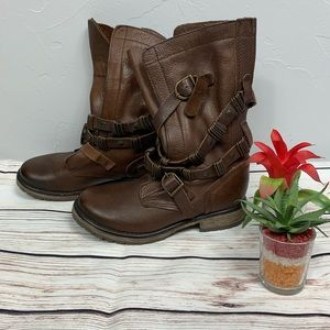 Steve Madden Banddit Leather Embellish Strap Boots